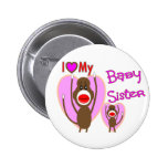 "Baby Sister ""I Love My Baby Sister"" gifts Pinback Buttons"