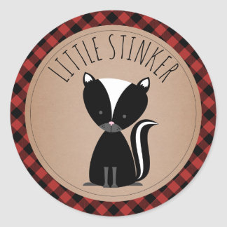 Baby Skunk Plaid Baby Shower Classic Round Sticker