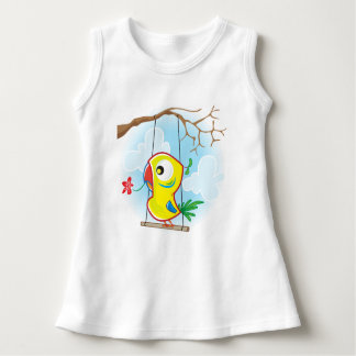 Baby Sleeveless Dress, White, with parrot Dress