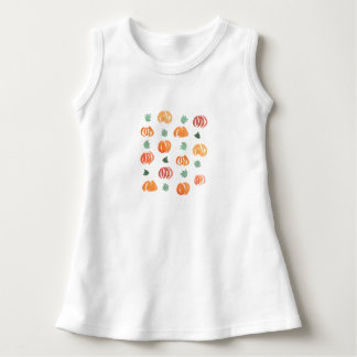 Baby sleeveless dress with pumpkins and leaves