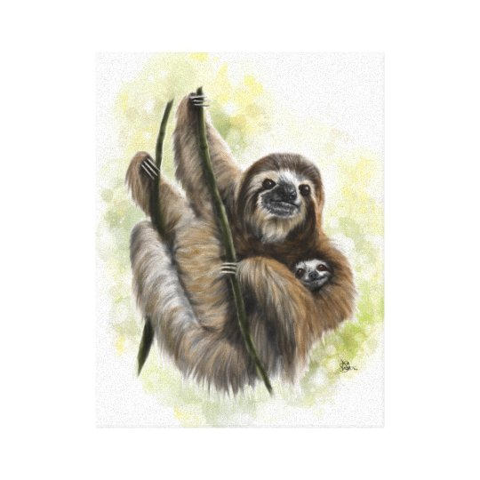 Baby Sloth and Mother Canvas Print