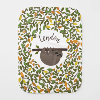 Baby Sloth  Autumn Greenery Personalized Baby Burp Cloth