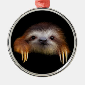 Baby Sloth Silver-Colored Round Decoration