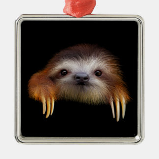 Baby Sloth Silver-Colored Square Decoration