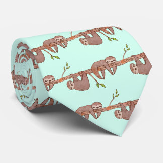 Baby Sloths hanging on Tree Pattern Tie