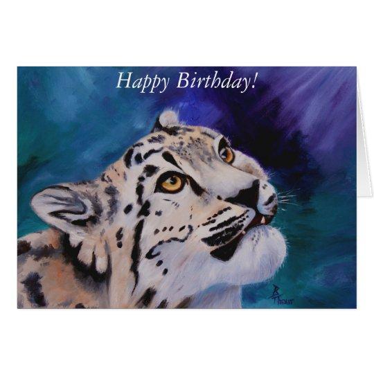 Baby Snow Leopard Birthday Card