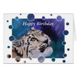 Baby Snow Leopard Bubbles Birthday Card Cards