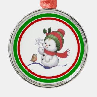 Baby Snowman with Birdie Ornament