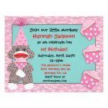 Baby Sock monkey cupcake Birthday Party Invitation