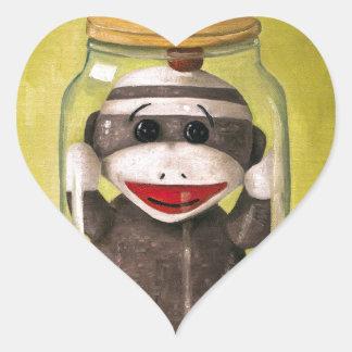 Baby Sock Monkey  Preserving Childhood 5 Heart Sticker
