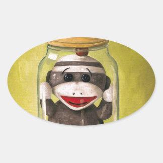 Baby Sock Monkey  Preserving Childhood 5 Oval Sticker