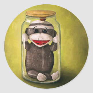 Baby Sock Monkey  Preserving Childhood 5 Round Sticker