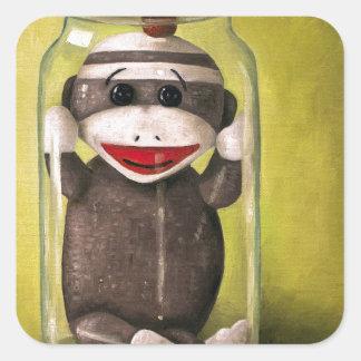 Baby Sock Monkey  Preserving Childhood 5 Square Sticker