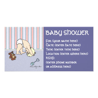 Baby Somersault Baby Shower Photo Card Template