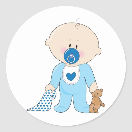 Baby Soother Boy Classic Round Sticker