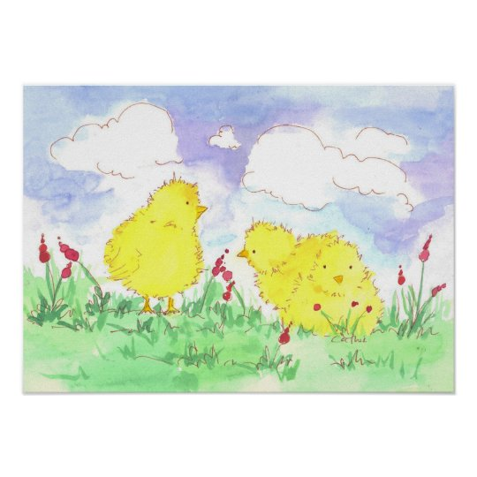 Baby Spring Chicks Children's Room Art Poster