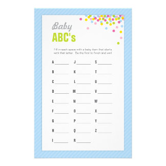 Baby Sprinkle / Baby Shower ABCs Game - Blue Stationery