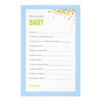 Baby Sprinkle / Baby Shower Wishes for Baby - Blue Stationery