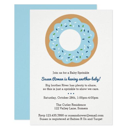 Baby Sprinkle Blue Doughnut Invitation