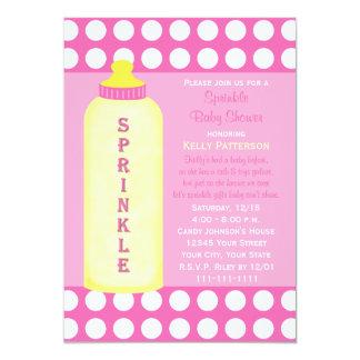 "Baby Sprinkle Invitation - Bottle Baby Girl Shower 5"" X 7"" Invitation Card"