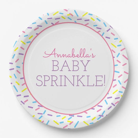 Baby Sprinkle Paper Plate with Pink Outline 9