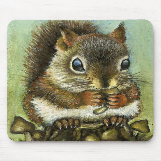 Baby squirrel and mushrooms mouse mats