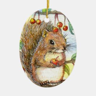 Baby Squirrel Ceramic Oval Decoration