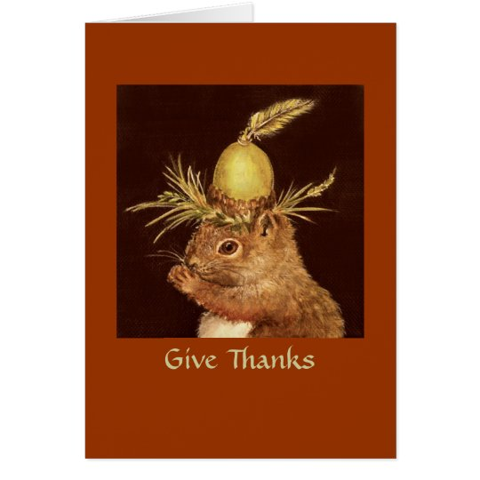 Baby squirrel thanksgiving card