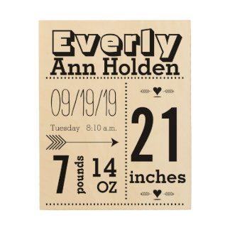 Baby Stats Birth Record on Wood Canvas