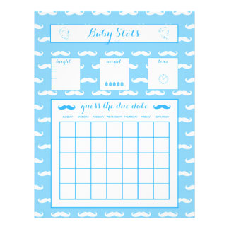 Baby Stats Guess The Due Date Baby Shower game Boy 21.5 Cm X 28 Cm Flyer