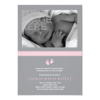 Baby Steps Birth Announcement - Pink