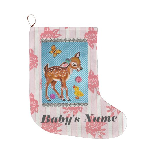 Baby Stocking Shabby Vintage Pink Fawn Personalise