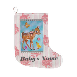 Baby Stocking Shabby Vintage Pink Fawn Personalize