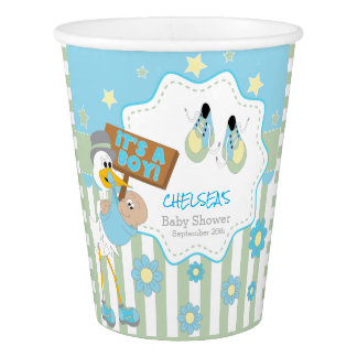 Baby Stork Baby Boy Shower Paper Cup