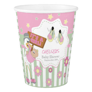 Baby Stork Baby Girl Shower Paper Cup