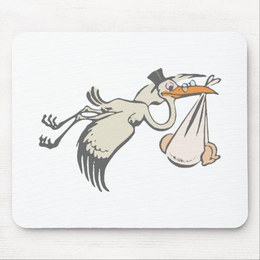 Baby stork rattling stork stork mousepad