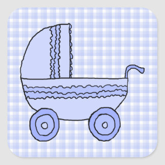 Baby Stroller. Light Blue on Check Pattern. Square Sticker
