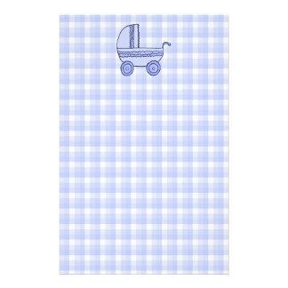 Baby Stroller. Light Blue on Check Pattern. Stationery