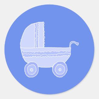 Baby Stroller. Light Blue on Mid Blue. Classic Round Sticker