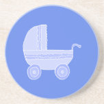Baby Stroller. Light Blue on Mid Blue. Coasters