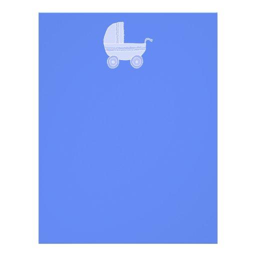 Baby Stroller. Light Blue on Mid Blue. Flyer Design