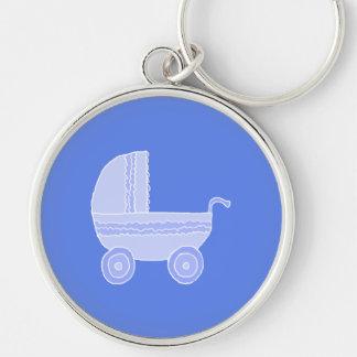Baby Stroller. Light Blue on Mid Blue. Key Ring
