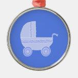 Baby Stroller. Light Blue on Mid Blue. Ornament