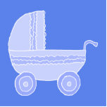 Baby Stroller. Light Blue on Mid Blue. Photo Sculpture