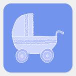 Baby Stroller. Light Blue on Mid Blue. Sticker