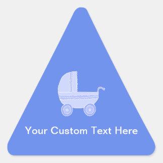 Baby Stroller. Light Blue on Mid Blue. Triangle Sticker