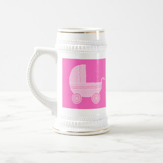 Baby Stroller. Light Pink and Bright Pink. Beer Steins