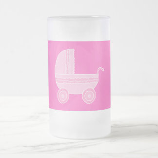 Baby Stroller. Light Pink and Bright Pink. 16 Oz Frosted Glass Beer Mug