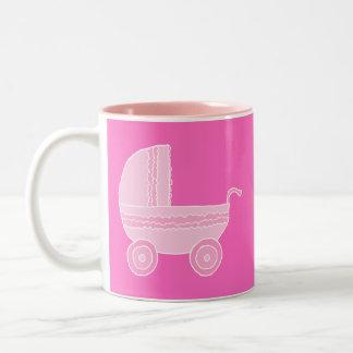 Baby Stroller. Light Pink and Bright Pink. Mug