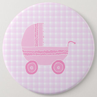 Baby Stroller. Light Pink on Pink Gingham. 6 Cm Round Badge